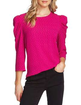 Printed Puff Sleeve Top by Vince Camuto