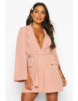 Split Sleeve Double Breasted Belted Blazer Dress by Boohoo