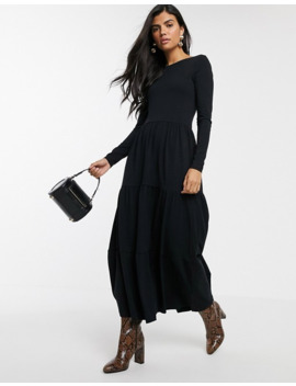 Warehouse Tiered Dress With Scoop Back In Black by Warehouse