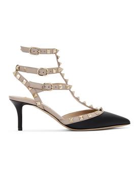 粉色 & 黑色 Valentino Garavani Rockstud 罗马式高跟鞋 by Valentino