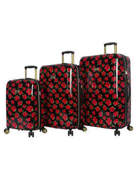 Covered Roses Hard Shell 3 Piece Luggage Set by Betsey Johnson   Luggage