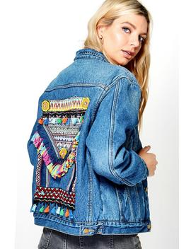 Mia Embroidered Statement Back Denim Jacket by Boohoo