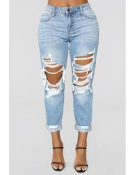 Jax Distressed High Rise Boyfriend Jeans   Light Wash by Fashion Nova