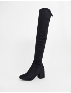 New Look Over The Knee Sock Boots In Black by New Look