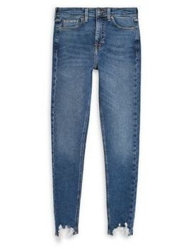 Mid Blue Jagged Hem Jamie Jeans 30 Inch Leg by Topshop