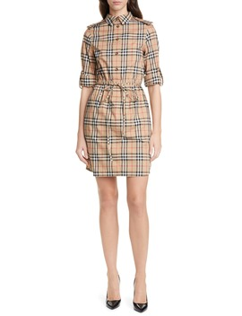 Vintage Check Stretch Cotton Long Sleeve Shirtdress by Burberry