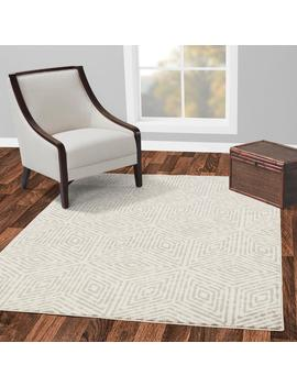 Jasmin Collection Ivory And Grey 7 Ft. 10 In. X 9 Ft. 10 In. Cubes Area Rug by Diagona Designs