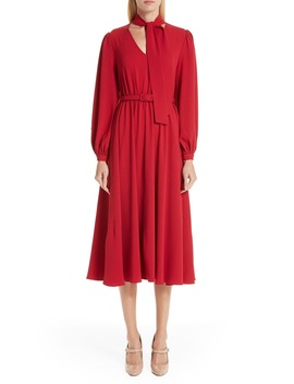 Tie Neck Crepe Dress by Co