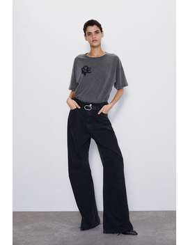 Washed Embroidered T by Zara