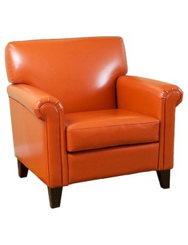 Rolled Arm Club Chair Orange   Christopher Knight Home by Christopher Knight Home
