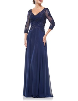 Gathered Lace & Chiffon A Line Gown by Marsoni