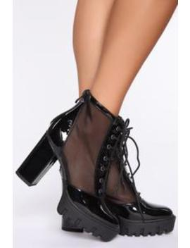 Free Falling Booties   Black by Fashion Nova