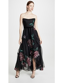 Strapless Embroidered Organza Tea Length Gown by Marchesa Notte