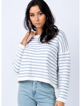 The Acton Jumper White/Blue by Princess Polly
