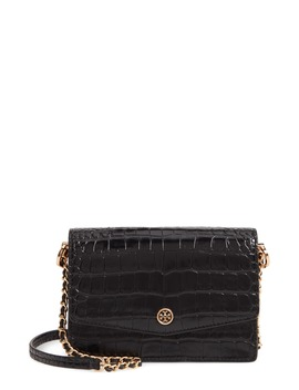 Robinson Embossed Leather Shoulder Bag by Tory Burch