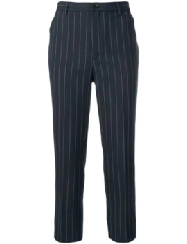 Pinstripe Cropped Trousers by Ganni