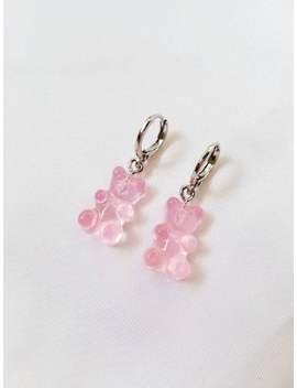 Pink Gummy Bear Huggie Earrings // Gummy Bears, Candy, Cute, Aesthetic, Minimalist, Lolita, Kawaii, Trendy // by Etsy