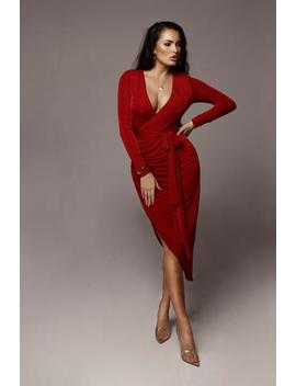 Red Teresa High Slit Maxi Dress by Jluxlabel