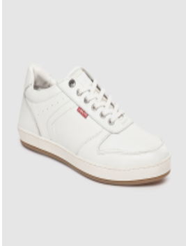 Men White Leather Sneakers by Levis