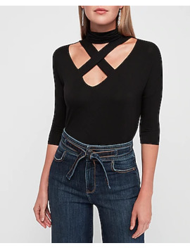 Strappy X Front Mock Neck London Tee by Express