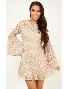 Cross My Heart Dress In Blush Lace by Showpo Fashion