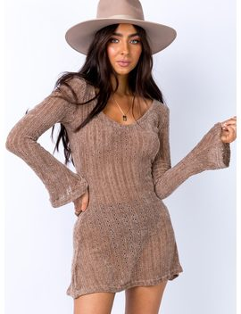 Boho Babe Mini Dress Mocha by Princess Polly