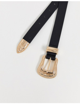 Asos Design Faux Leather Western Belt In Black With Gold Buckle by Asos Design