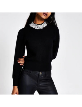 Petite Black Pearl Embellished Neck Jumper by River Island