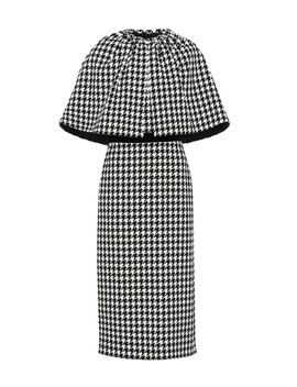 Houndstooth Wool Blend Cape Dress by Gucci