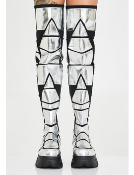 Techno Armor Thigh High Boots by Club Exx
