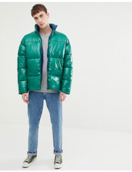 Asos Design Puffer Jacket In High Shine In Emerald by Asos Design