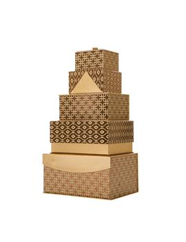 4.88 In. Metallic Gold Exterior Gift Box. (Set Of 5) by Glitzhome