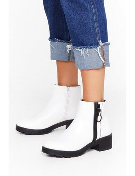 One Way Zip Faux Leather Boots by Nasty Gal