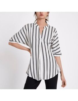 Black Stripe Short Sleeve Twist Back Blouse by River Island