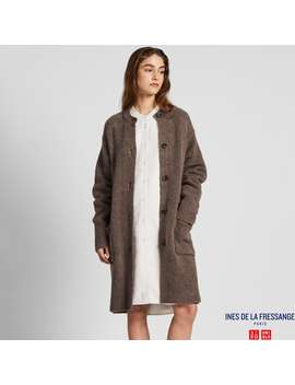 Ines De La Fressange Middle Gauge Knitted Coat by Uniqlo