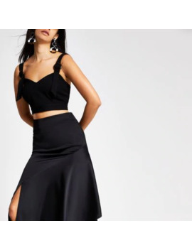 Black Buckle Trim Crop Top by River Island