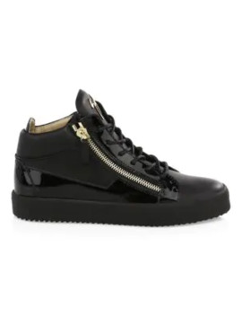 Leather Zip Sneakers by Giuseppe Zanotti