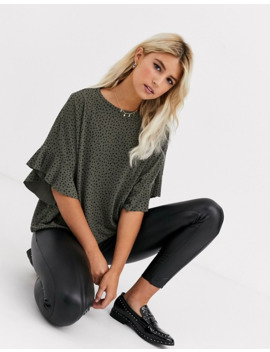 New Look Frill Sleeve Blouse In Green Spot by New Look