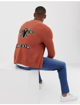 River Island Zip Up Sweater With Embroidery In Rust by River Island