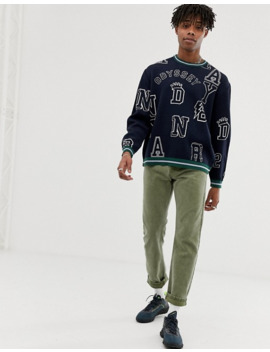 Asos Design Knitted Sweater With Slogan Placement by Asos Design