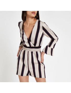 Black Stripe Wrap Long Sleeve Playsuit by River Island