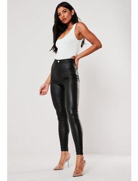 Tall Black Vice High Waisted Coated Skinny Jeans by Missguided