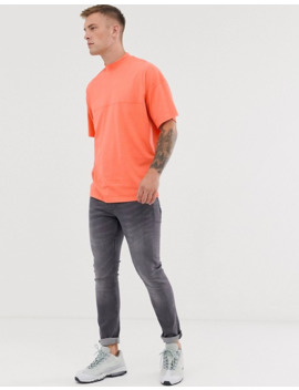 Asos Design Oversized T Shirt With Seam Detail & Turtleneck In Coral by Asos Design