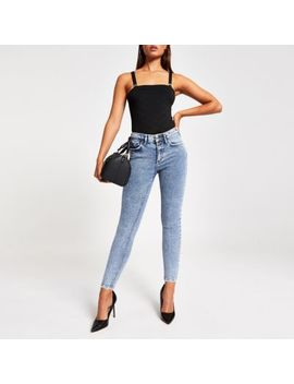 Black Ri Embossed Square Neck Bodysuit by River Island