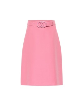 Belted Wool And Silk Cady Skirt by Gucci