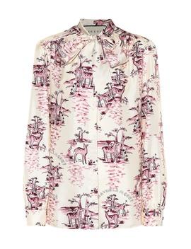 Printed Silk Twill Shirt by Gucci