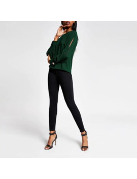 Green Long Pleated Sheer Sleeve Top by River Island
