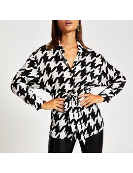 Black Houndstooth Tie Waisted Shirt by River Island