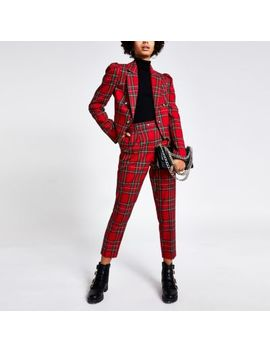 Red Tartan Puff Sleeve Cropped Blazer by River Island