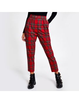 Red Tartan Check Cigarette Trousers by River Island
